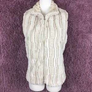 Robert Kitchen Cream Faux Fur Vest ~ Large